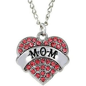 Jewelry - Dainty Pink Crystal MOM Heart Pendant Necklace